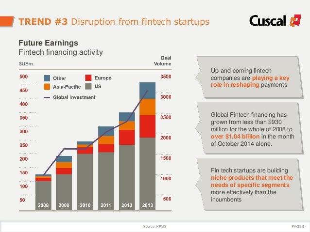 TREND #3 Disruption from fintech startups Up-and-coming fintech companies are playing a key role in reshaping payments Glo...