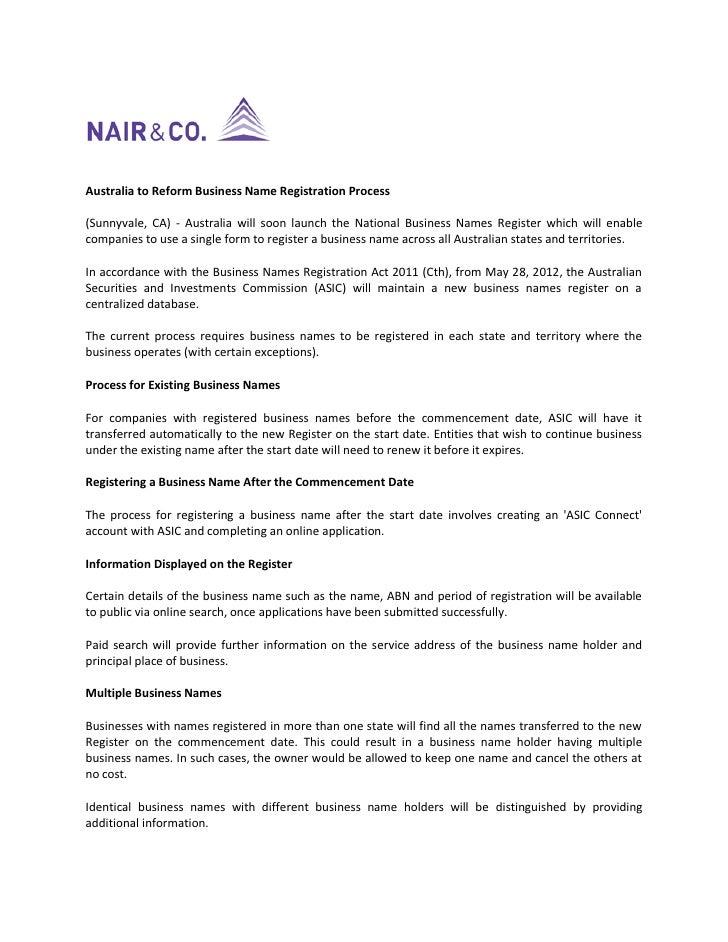 Australia to Reform Business Name Registration Process