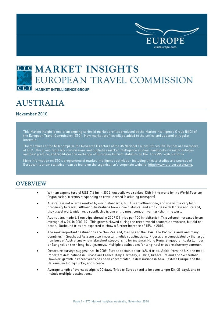 AUSTRALIANovember 2010   This Market Insight is one of an ongoing series of market profiles produced by the Market Intelli...