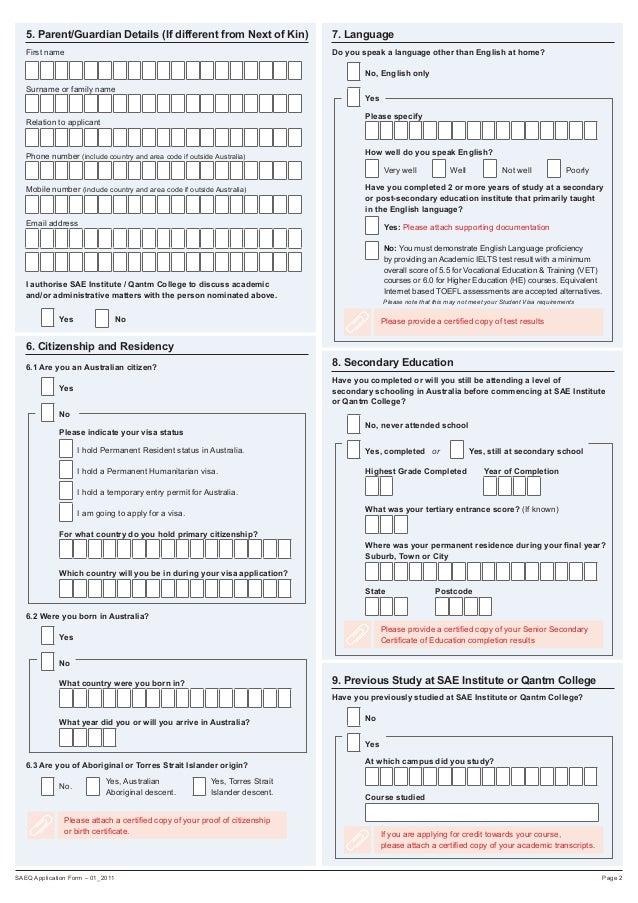 SAE International application form for Australia.