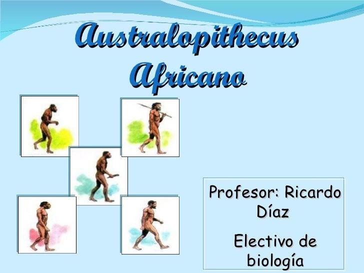Australopithecus Africano Profesor: Ricardo Díaz  Electivo de biología