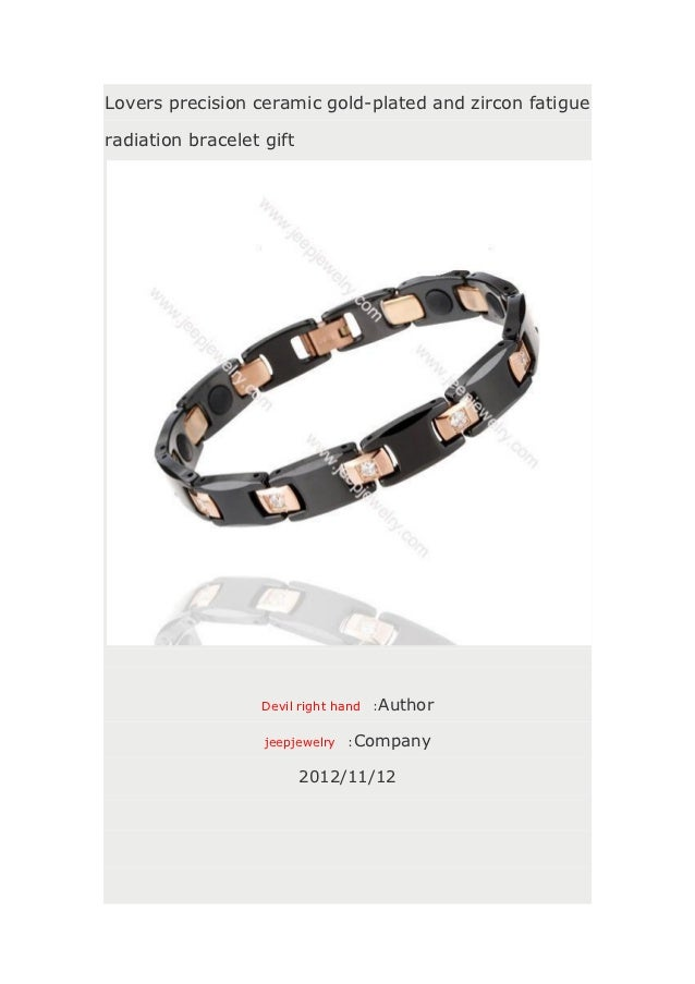 Lovers precision ceramic gold-plated and zircon fatigueradiation bracelet gift                   Devil right hand   :Autho...