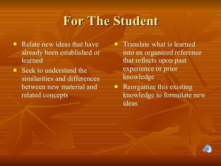For The Student <ul><li>Relate new ideas that have already been established or learned </li></ul><ul><li>Seek to understan...