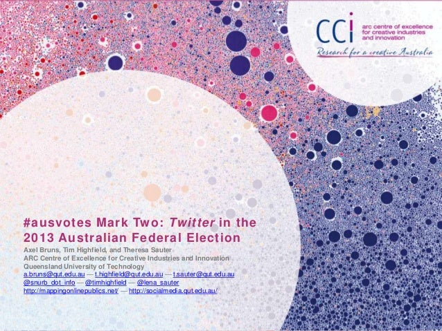 #ausvotes Mark Two: Twitter in the 2013 Australian Federal Election Axel Bruns, Tim Highfield, and Theresa Sauter ARC Cent...