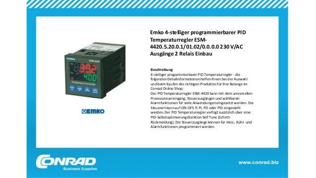 Emko 4-stelliger programmierbarer PID Temperaturregler ESM- 4420.5.20.0.1/01.02/0.0.0.0 230 V/AC Ausgänge 2 Relais Einbau ...