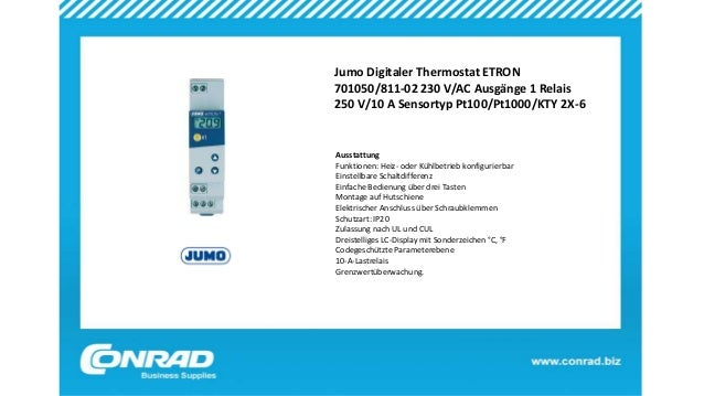 Jumo Digitaler Thermostat ETRON 701050/811-02 230 V/AC Ausgänge 1 Relais 250 V/10 A Sensortyp Pt100/Pt1000/KTY 2X-6 Aussta...