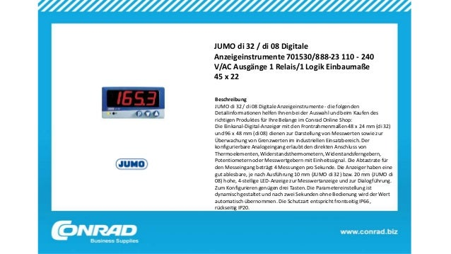 JUMO di 32 / di 08 Digitale Anzeigeinstrumente 701530/888-23 110 - 240 V/AC Ausgänge 1 Relais/1 Logik Einbaumaße 45 x 22 B...