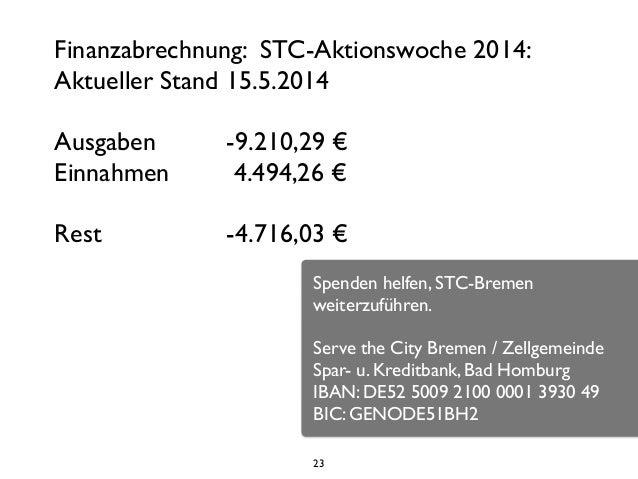 23 Finanzabrechnung: STC-Aktionswoche 2014:  Aktueller Stand 15.5.2014   ! Ausgaben         -9.210,29 €  Einnahmen ...