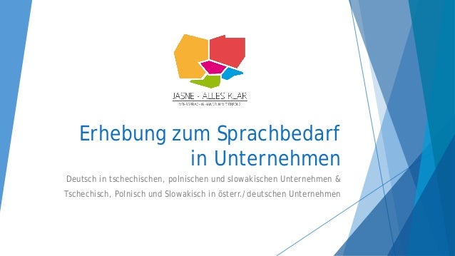 Erhebung zum Sprachbedarf in Unternehmen Deutsch in tschechischen, polnischen und slowakischen Unternehmen & Tschechisch, ...
