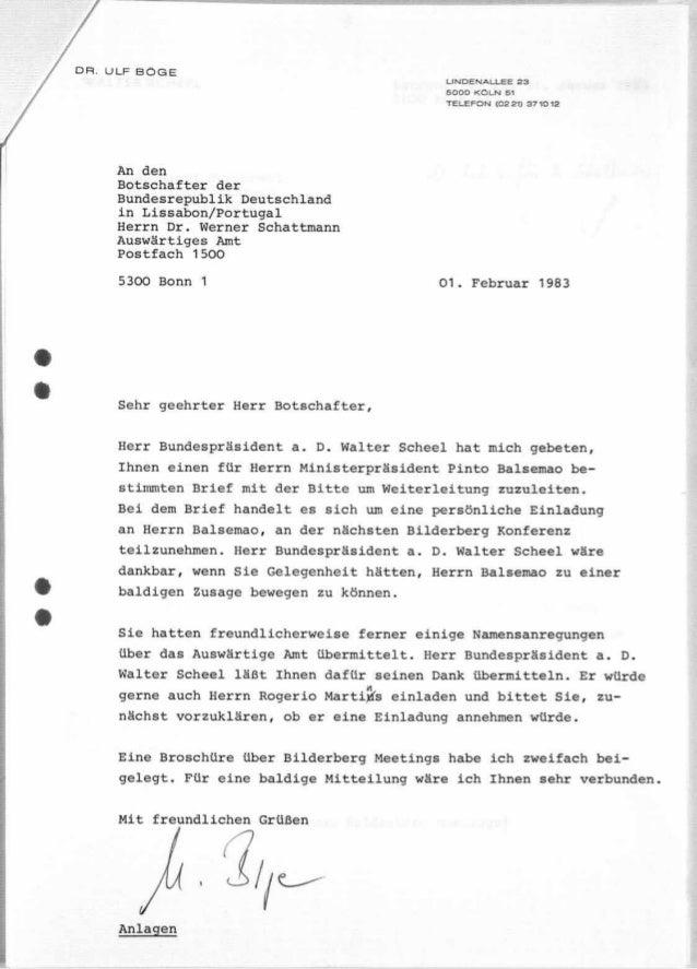 Auswäringes amt 1983 Bilderberger Treffen
