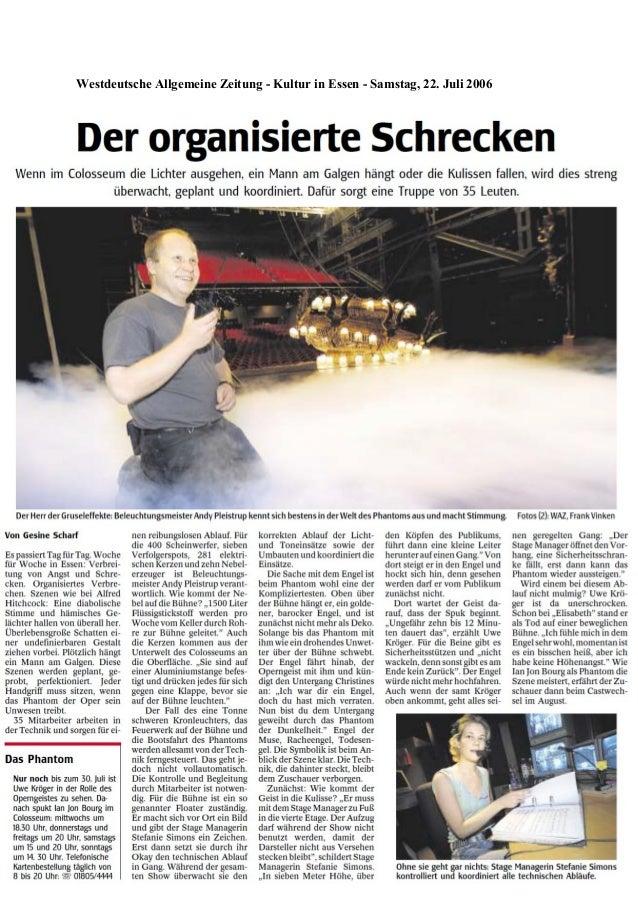 Westdeutsche Allgemeine Zeitung - Kultur in Essen - Samstag, 22. Juli 2006