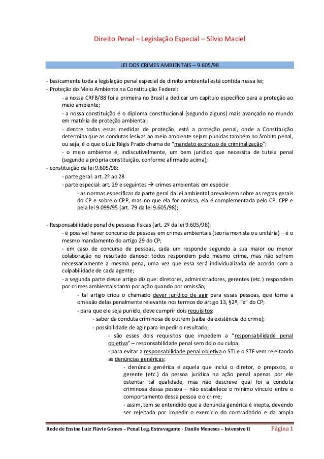 Rede de Ensino Luiz Flávio Gomes – Penal Leg. Extravagante - Danilo Meneses – Intensivo II Página 1 Direito Penal – Legisl...
