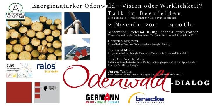 Energieautarker Odenw ald - Vision oder Wirklichkeit?                        Talk             in        Beerfelden        ...