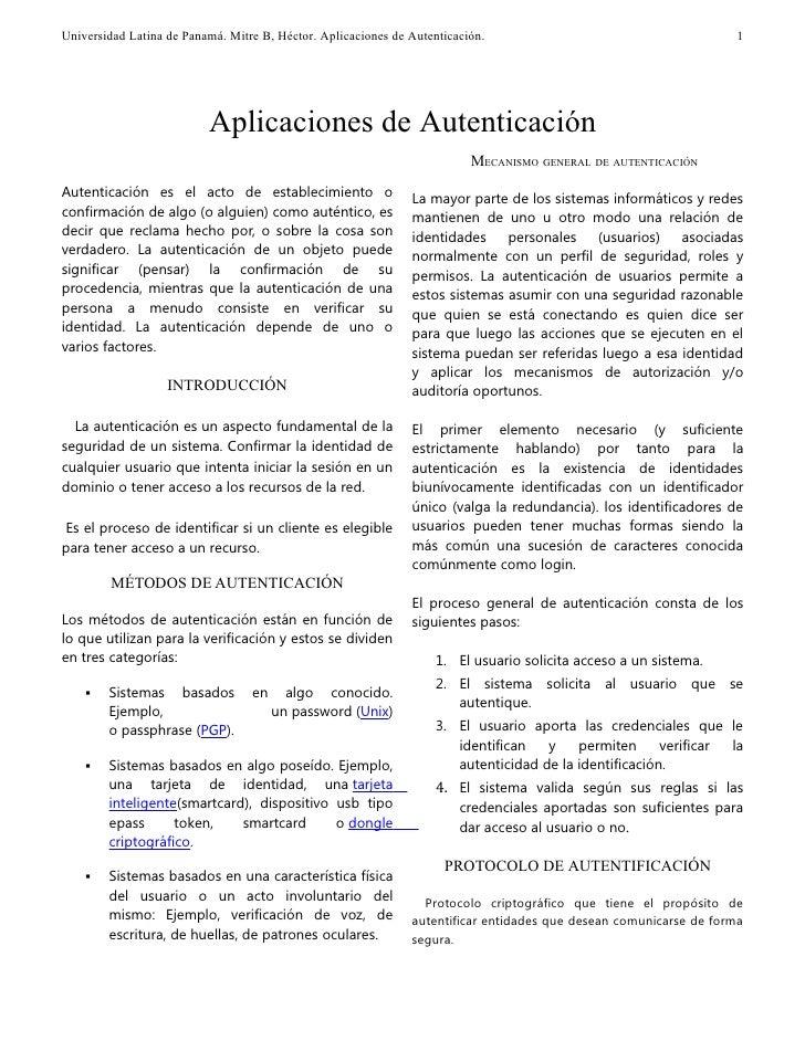 Universidad Latina de Panamá. Mitre B, Héctor. Aplicaciones de Autenticación.                                      1      ...