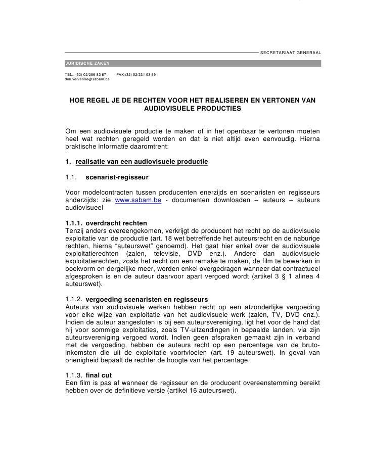 - 1-                                                                      SECRETARIAAT GENERAAL  JURIDISCHE ZAKEN  TEL.: (...