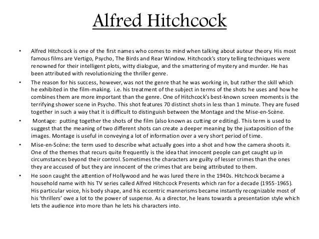 Alfred hitchcocks life and films essay