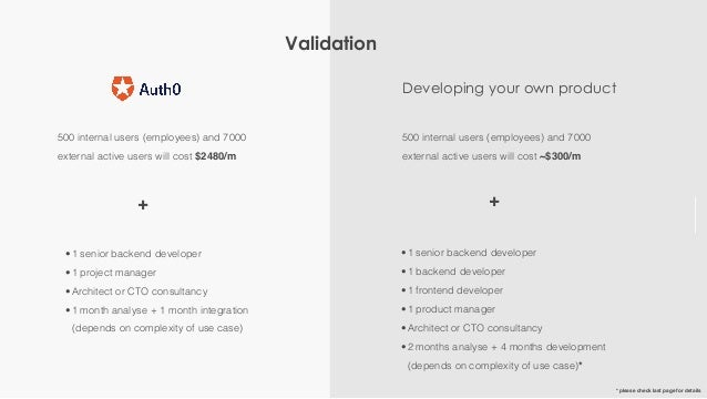 Validation 500 internal users (employees) and 7000 external active users will cost $2480/m + Developing your own product •...
