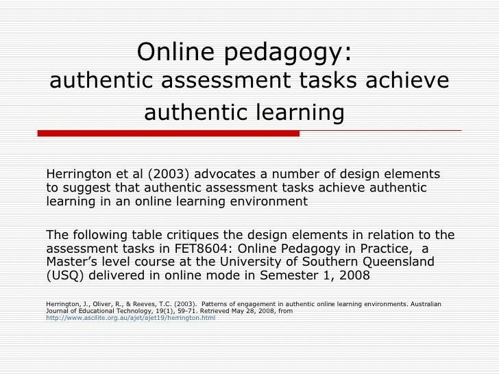 authentic assessment project Authentic assessment procedures designed to overcome the limitations of traditional unseen summative and norm referenced standardized tests authentic assessment emphasizes the practical application of tasks in real-world settings mueller (2005) defines authentic assessments as direct measures.
