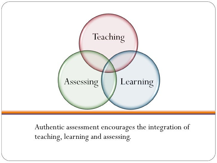 <ul><li>Authentic assessment encourages the integration of teaching, learning and assessing. </li></ul>