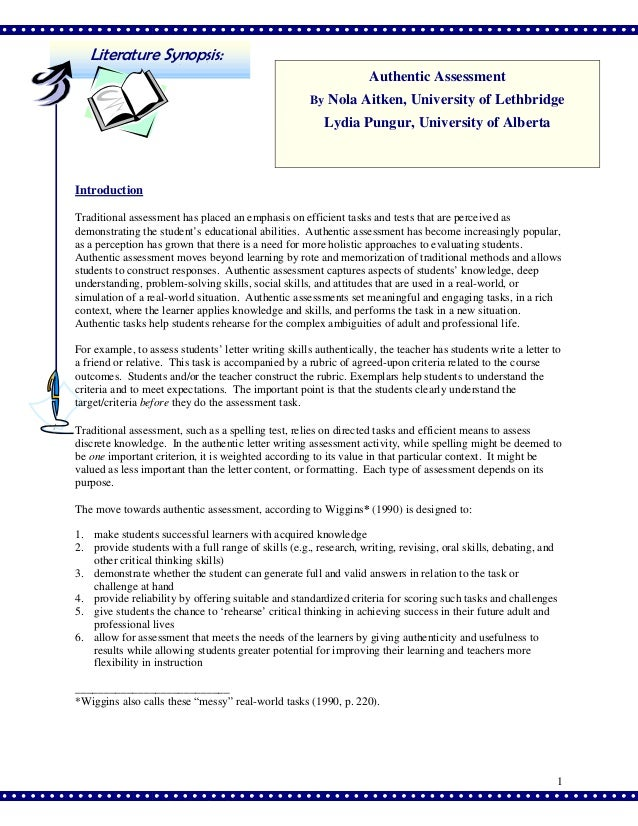 Authentic assessment 2 ppt literature synopsis authentic assessment by nola aitken university of lethbridge lydia pungur spiritdancerdesigns Image collections