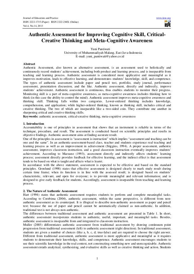 Journal of Education and Practice www.iiste.org ISSN 2222-1735 (Paper) ISSN 2222-288X (Online) Vol.4, No.14, 2013 1 Authen...