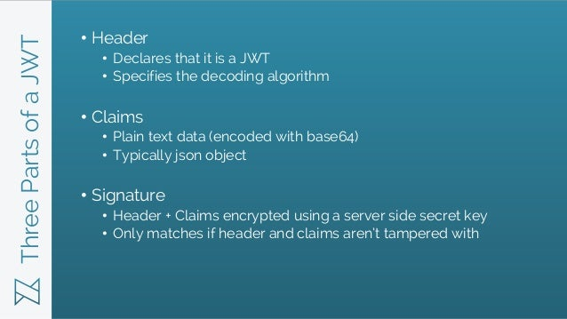 ThreePartsofaJWT • Header • Declares that it is a JWT • Specifies the decoding algorithm • Claims • Plain text data (encod...