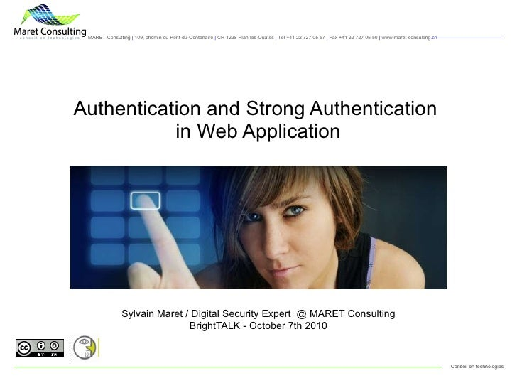 Authentication and strong authentication for Web Application