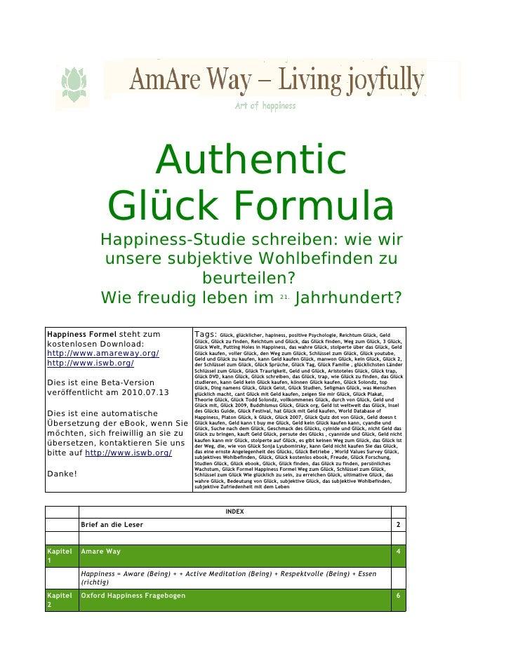 Authentic glück formula