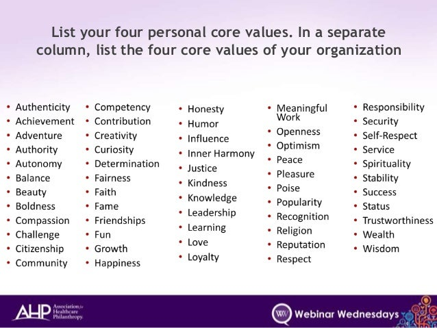 list of personal values pdf