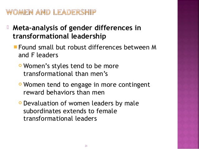 differences between male and female leadership styles pdf