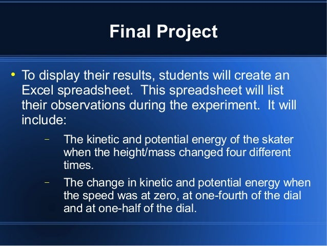 kinetic energy and skater Energy skate park names (groups of  students explore conservation of energy as a skater rides  they also use the formula for kinetic energy to determine the.