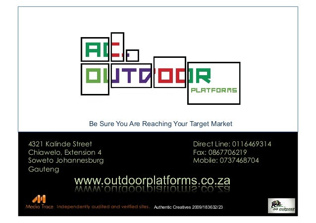 Be	   Sure	   You	   Are	   Reaching	   Your	   Target	   Market	    4321 Kalinde Street Chiawelo, Extension 4 Soweto Joha...