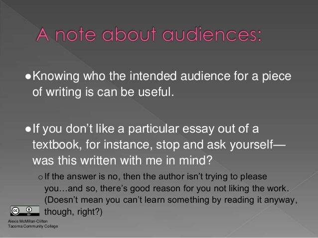 intended audience in writing
