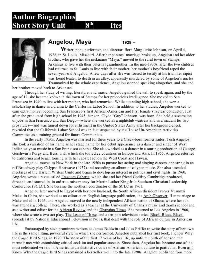 Author BiographiesShort Story Unit                              8th            Ites                      Angelou, Maya    ...
