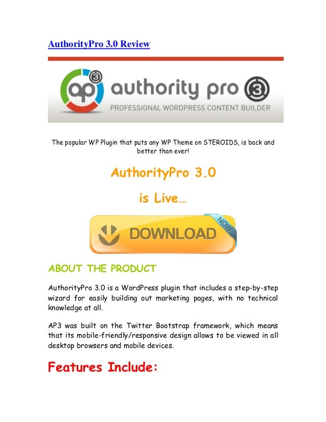 AuthorityPro 3.0 ReviewThe popular WP Plugin that puts any WP Theme on STEROIDS, is back andbetter than ever!AuthorityPro ...