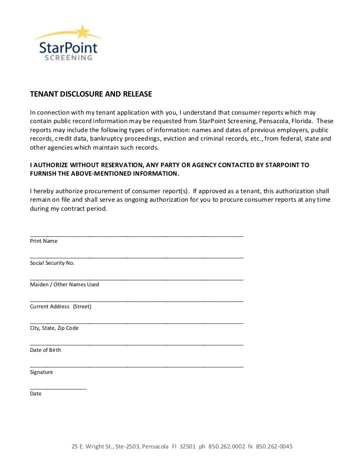 Authorization form, disclosure and release tenant