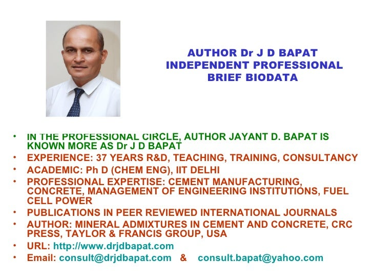Author jayant d_bapat_book_mineral_admixtures_in _cement_and_concrete_crc_press Slide 3