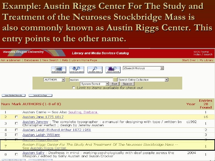 Example: Austin Riggs Center For The Study and Treatment of the Neuroses Stockbridge Mass is also commonly known as Austin...