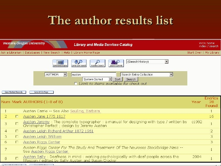 The author results list