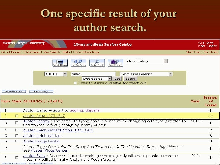 One specific result of your  author search.