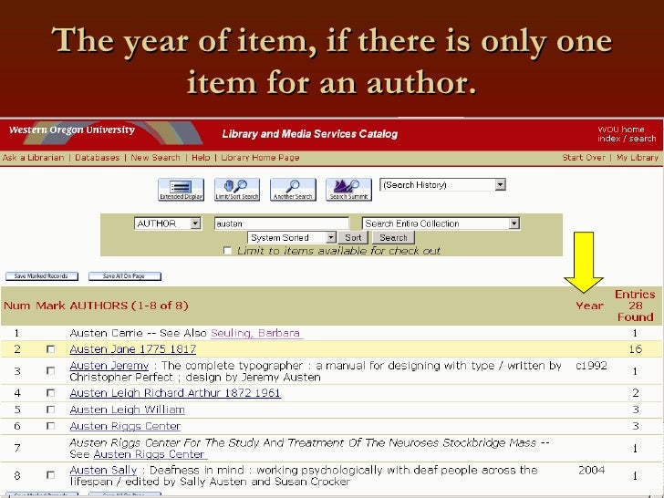 The year of item, if there is only one item for an author.