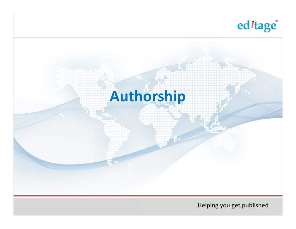 Authorship             Helping you get published