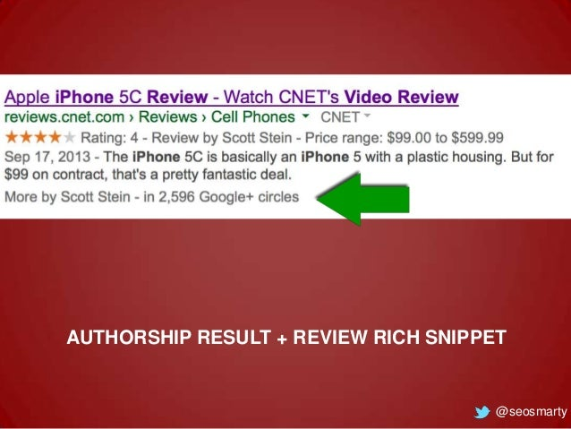 AUTHORSHIP RESULT + REVIEW RICH SNIPPET  @seosmarty