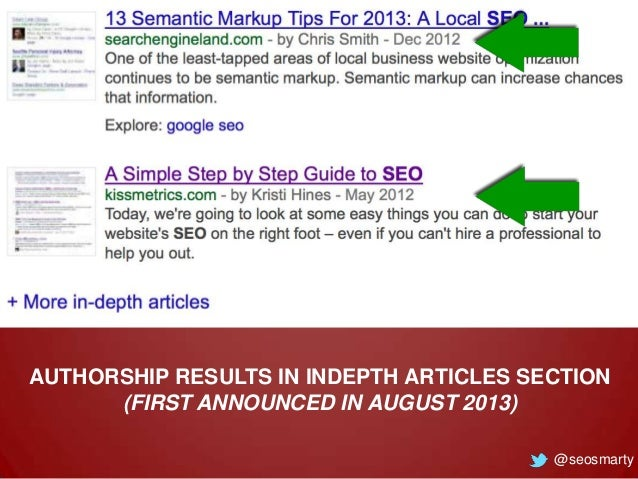 AUTHORSHIP RESULTS IN INDEPTH ARTICLES SECTION (FIRST ANNOUNCED IN AUGUST 2013) @seosmarty