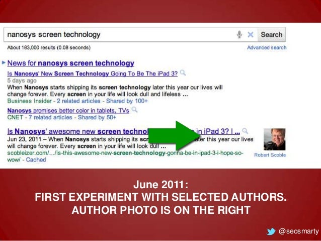 June 2011: FIRST EXPERIMENT WITH SELECTED AUTHORS. AUTHOR PHOTO IS ON THE RIGHT @seosmarty
