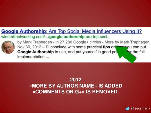 2012 «MORE BY AUTHOR NAME» IS ADDED «COMMENTS ON G+» IS REMOVED.  @seosmarty