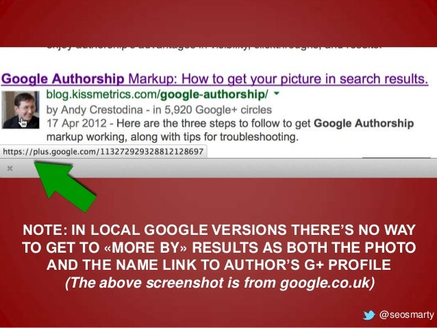 NOTE: IN LOCAL GOOGLE VERSIONS THERE'S NO WAY TO GET TO «MORE BY» RESULTS AS BOTH THE PHOTO AND THE NAME LINK TO AUTHOR'S ...