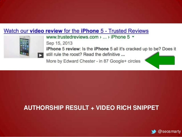 AUTHORSHIP RESULT + VIDEO RICH SNIPPET  @seosmarty