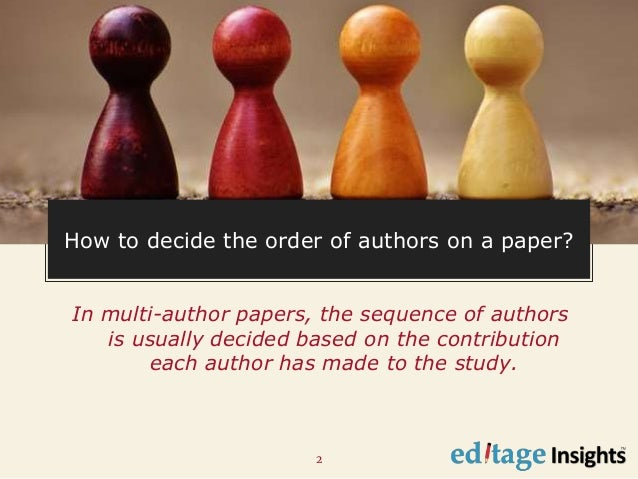 Order of authors in a research paper