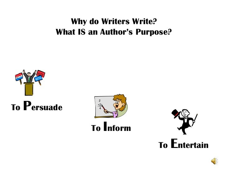 Why do Writers Write?         What IS an Author's Purpose?To Persuade                 To Inform                           ...